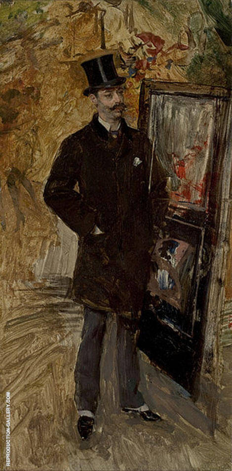 Portrait of Man Wearing A Top Hat Painting By Giovanni Boldini