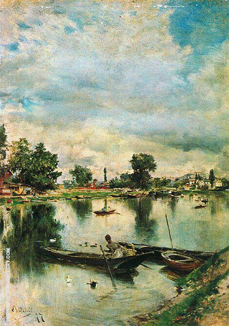 River Landscape Painting By Giovanni Boldini - Reproduction Gallery