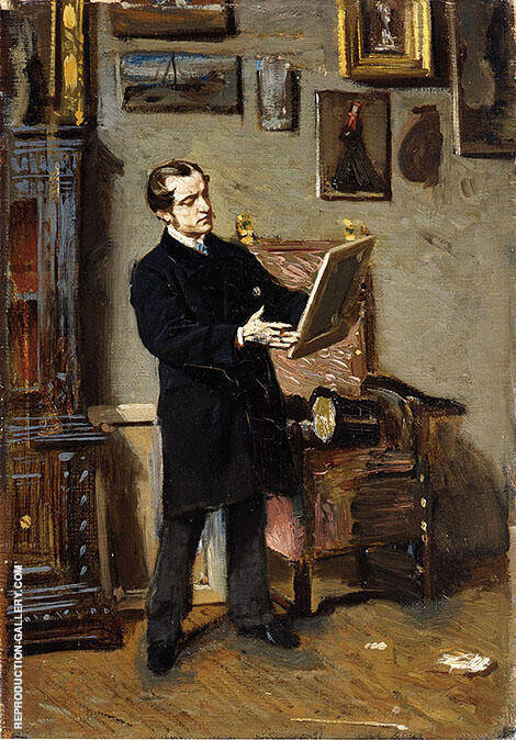 Self Portrait While Looking at a Painting 1865 By Giovanni Boldini