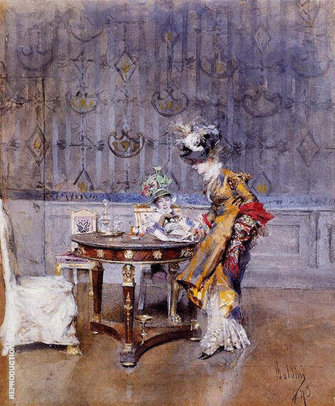 The Letter 1873 Painting By Giovanni Boldini - Reproduction Gallery