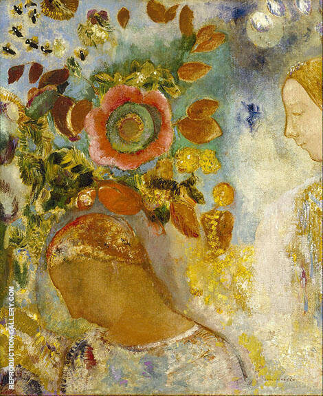 Two Young Girls Among Flowers By Odilon Redon