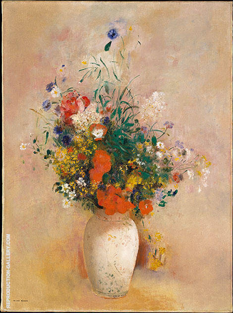 Vase of Flowers Pink Background By Odilon Redon