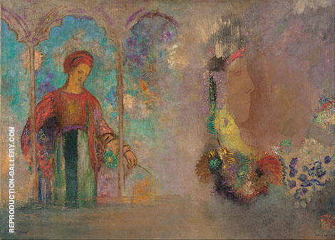 Woman Gathering Flowers Painting By Odilon Redon - Reproduction Gallery