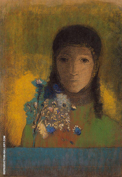 Woman with Wildflowers By Odilon Redon