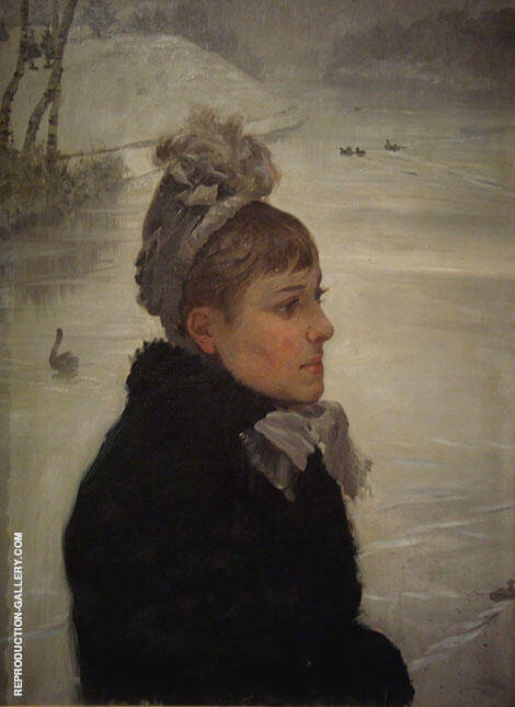 At The Lake 1880 Painting By Giuseppe De Nittis - Reproduction Gallery