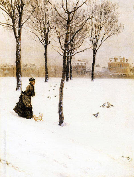 A Winter Landscape 1875 By Giuseppe De Nittis