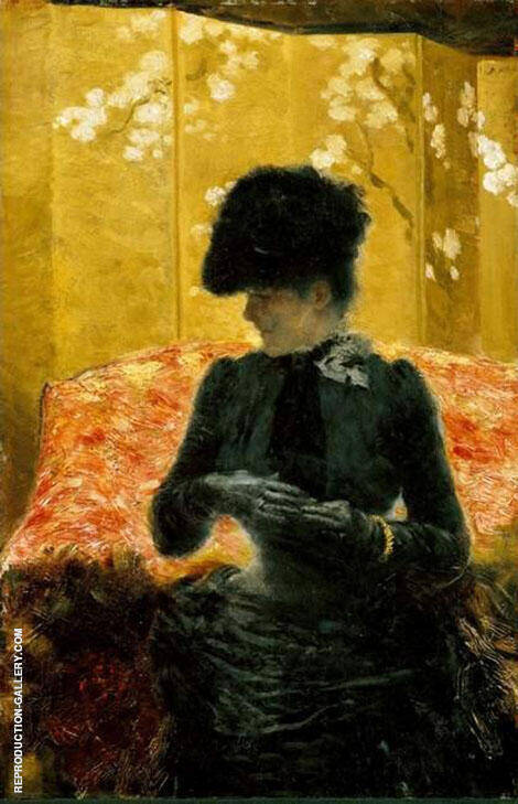 Lady on a Red Divan 1880 Painting By Giuseppe De Nittis