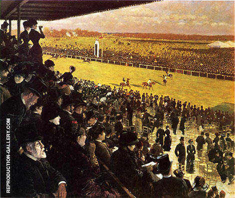 The Races at Longchamps from The Grandstand 1883 Painting By ...