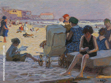 Baby Carriage on Beach By Edward Henry Potthast