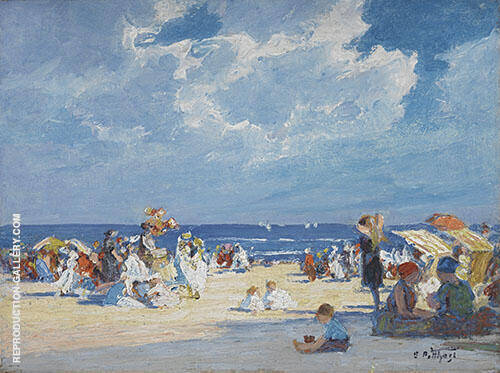 Beach Scene Painting By Edward Henry Potthast - Reproduction Gallery