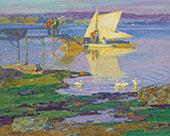 Boat at Dock By Edward Henry Potthast