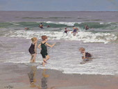 Children Playing in Surf By Edward Henry Potthast