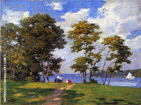 Landscape by The Shore Painting By Edward Henry Potthast