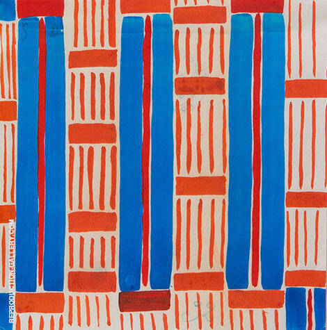 Design 32 Red and Blue Stripes By Sonia Delaunay