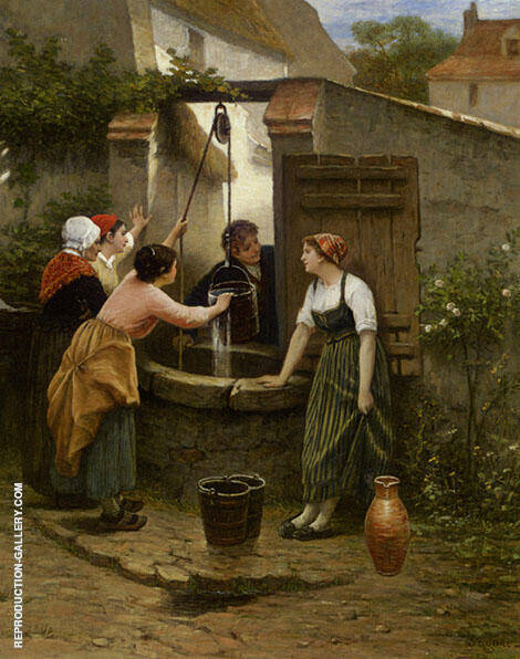 By The Well Painting By Guillaume Seignac - Reproduction Gallery