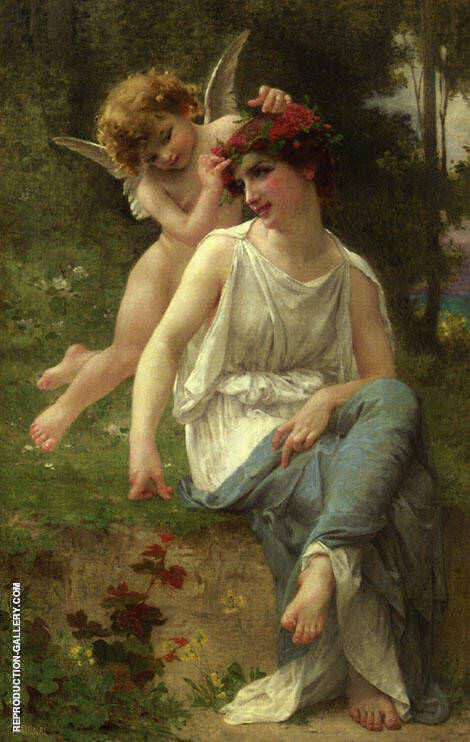 Cupid Adoring a Young Maiden Painting By Guillaume Seignac