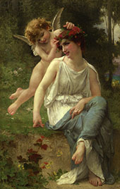 Cupid Adoring a Young Maiden By Guillaume Seignac