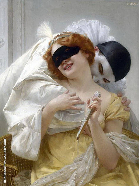 Pierrot's Embrace Painting By Guillaume Seignac - Reproduction Gallery