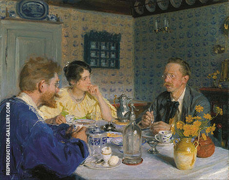 A Breakfast The Artist His Wife and Thewriter Otto Benzon 1893 By Peder Severin Kroyer