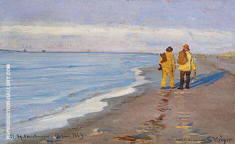 Evening Atmosphere with Two Fishermen at Skagen Beach By Peder Severin Kroyer