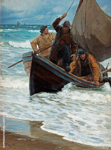 Fishermen Homeward Bound Taking in The Sails 1885 By Peder Severin Kroyer