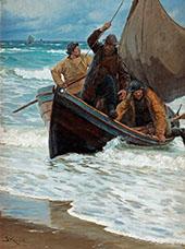 Fishermen Homeward Bound Taking in The Sails 1885 By Peder Severin Kroyer