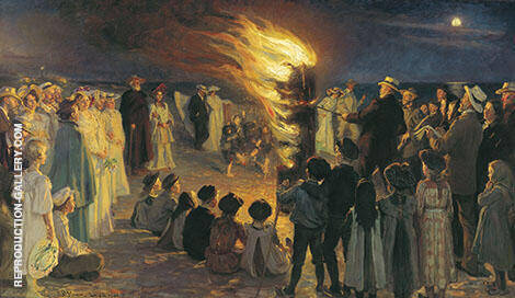 Midsummer Eve Bonfire on Skagen Beach By Peder Severin Kroyer