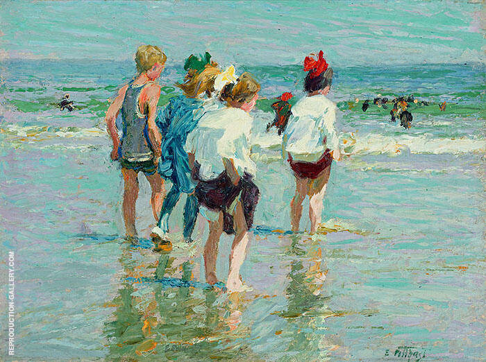 Summer Day Brighton Beach Painting By Edward Henry Potthast