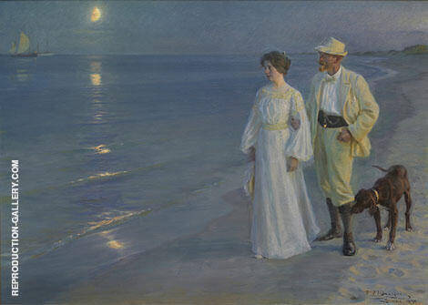 Summer Evening on The Beach at Skagen 1899 Painting By ...