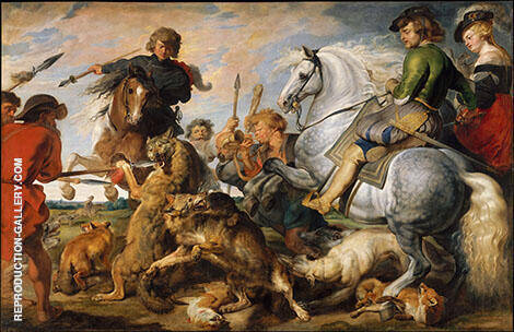 Wolf and Fox Hunt 1616 By Peter Paul Rubens