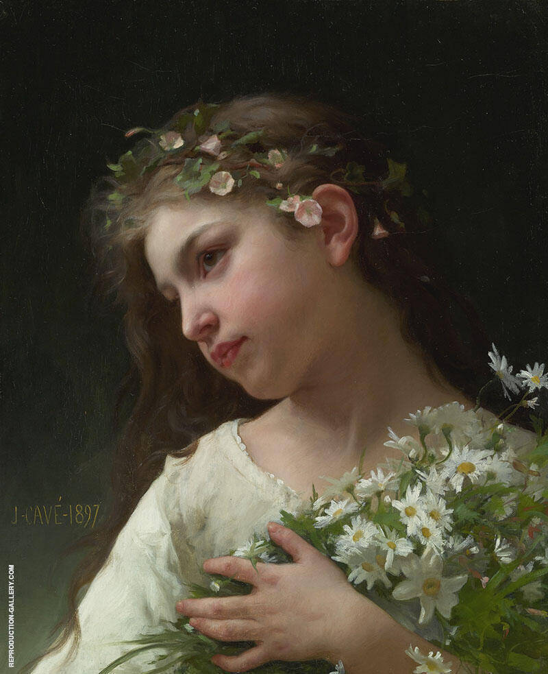 Girl with a Bouquet of Daisies By Jules-Cyrille Cave