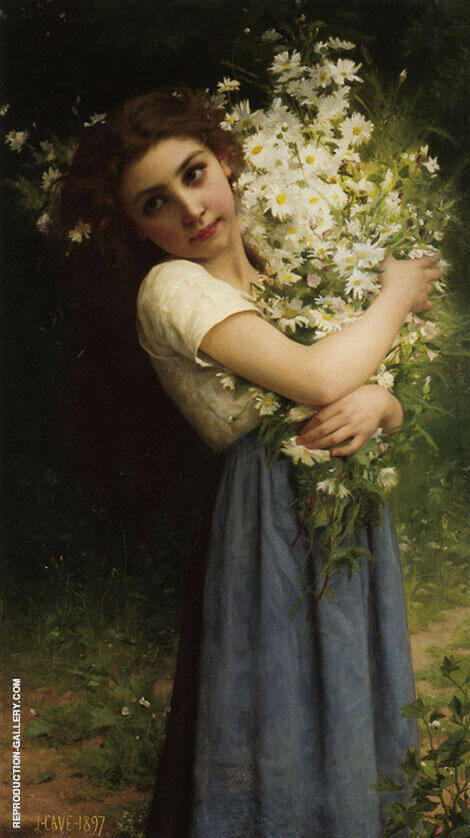 The Flower Girl 1897 Painting By Jules-Cyrille Cave - Reproduction Gallery