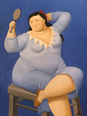 Woman with Mirror By Fernando Botero