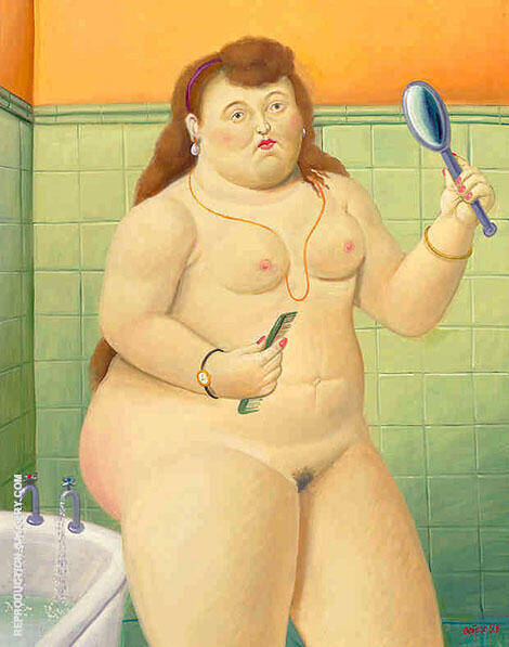 Figura nel Bangno Painting By Fernando Botero - Reproduction Gallery