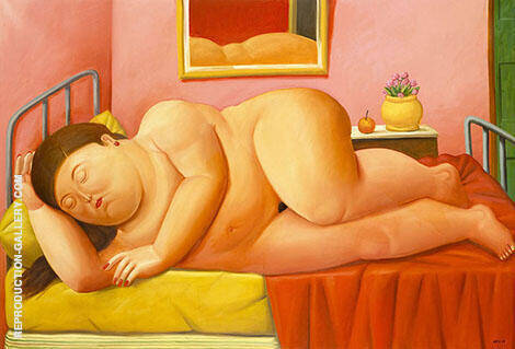 Desnudo Acostado Painting By Fernando Botero - Reproduction Gallery