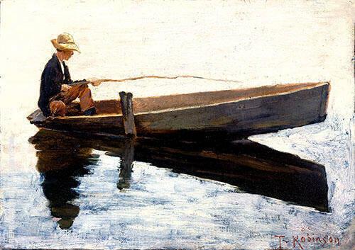 Boy in a Boat Fishing 1880 By Theodore Robinson