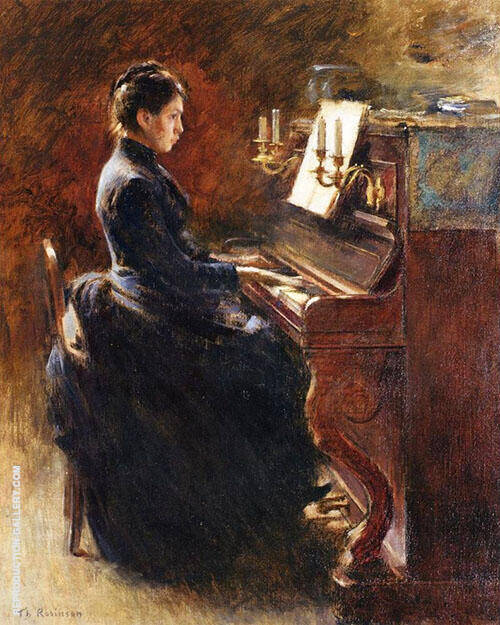 Girl at Piano By Theodore Robinson