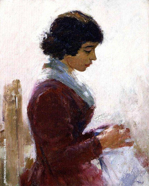 Girl in Red Sewing By Theodore Robinson