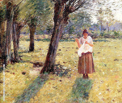 Girl Sewing 2 1891 By Theodore Robinson