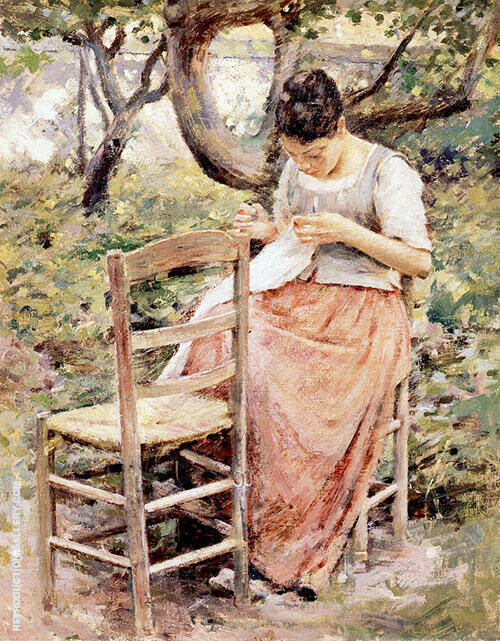 Girl Sewing 1891 By Theodore Robinson