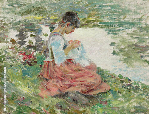 Girl Sewing by River 1891 By Theodore Robinson