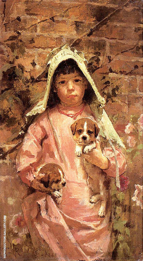 Girl with Puppies 1881 By Theodore Robinson