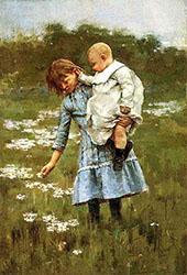 In a Daisy Field 1884 By Theodore Robinson
