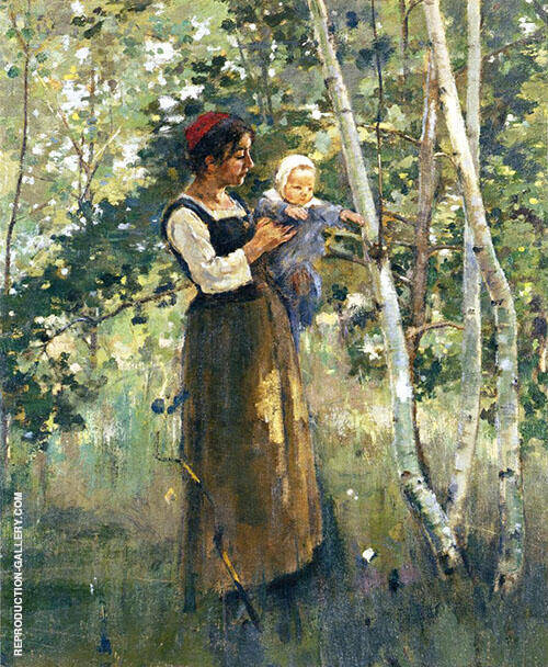 Mother and Child Painting By Theodore Robinson - Reproduction Gallery