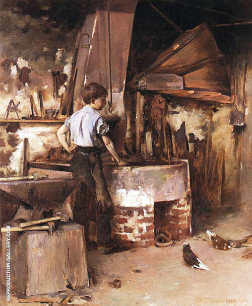 The Apprentice Blacksmith 1886 Painting By Theodore Robinson