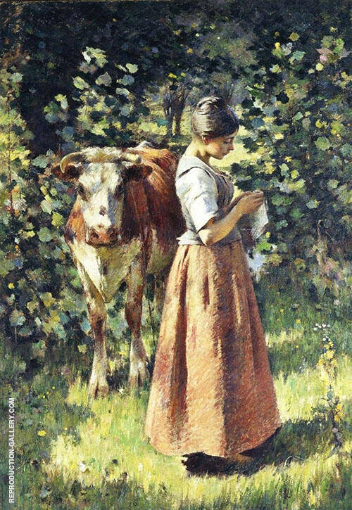 The Cowherd 1888 Painting By Theodore Robinson - Reproduction Gallery