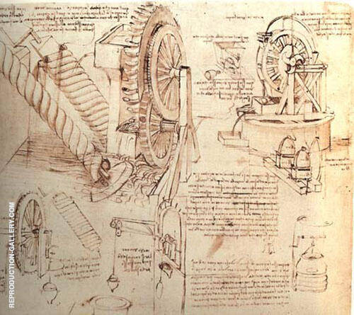 Drawings of Water Lifting Devices By Leonardo da Vinci