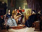 Painting The Mona Lisa Cesare Maccari By Leonardo da Vinci