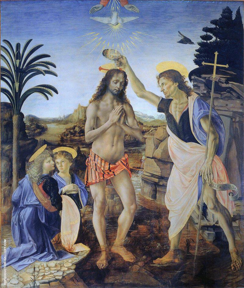 The Baptism of Christ 1475 Painting By Leonardo da Vinci