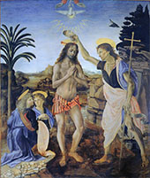 The Baptism of Christ 1475 By Leonardo da Vinci
